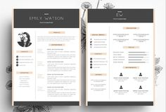 3 page Resume + Business Card by Emily's ART Boutique  on Creative Market