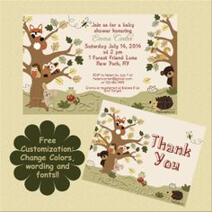 Custom Hand Drawn Lambs and Ivy Echo Forest Friends Baby Shower Invitation and Thank You Card printable digital file set.  The forest animals are SO adorable!!!