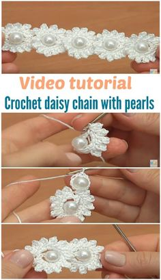 Crochet Daisy Chain With Pearls Free Video Instructions - Crochet News How to crochet this daisy chain with pearl beads. Crochet daisy chain with pearls is absolutely gorgeous.This Pin was discovered by GorA collection of Crochet Cord F Crochet Cord, Crochet Daisy, Crochet Chain, Crochet Bracelet, Crochet Lace, Crochet Edgings, Crochet Motif, Crochet Jewelry Patterns, Crochet Flowers