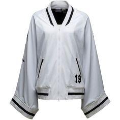 Fenty Puma By Rihanna Short Kimono Track Jacket (€270) ❤ liked on Polyvore featuring activewear, activewear jackets, puma white, women's apparel jackets, warm up jackets, white warm up jacket, short kimono, track top and track jacket