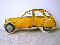 2CV style car soft toy yellow