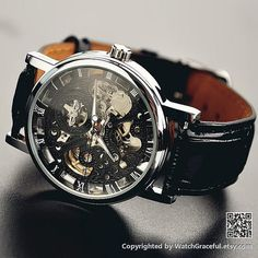 Mens Watch Steampunk Leather Black Wrist Watch by WatchGraceful, $28.99