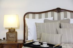 Our Portia bedhead design in natural brown fabrics