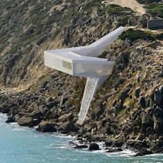 Site dwelling / Competition - finalist Villa on cliff by located on the cliff of the bay Sailr de Porto, Portugal Bamboo Architecture, Concept Architecture, Contemporary Architecture, Amazing Architecture, Interior Architecture, Underwater Room, Dream Cars, Landscape And Urbanism, Cliff House