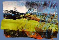 David Tress - 'Green Winter Spring', mixed media on paper, 2010 Landscape Artwork, Abstract Landscape Painting, Contemporary Landscape, Watercolor Landscape, Abstract Geometric Art, Abstract Nature, A Level Art, Oeuvre D'art, Les Oeuvres