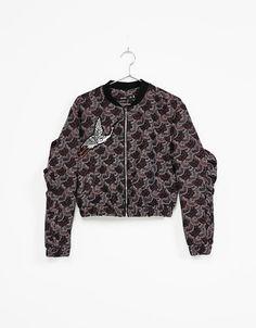 Jacquard fabric bomber-style jacket - Embroidery - Bershka Ukraine
