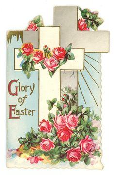 vintage Victorian Easter religious greeting card cross roses die cut