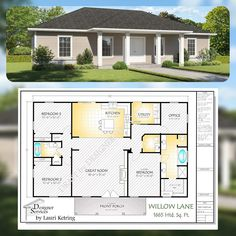 The Willow Lane House Plan Hip Roof Option 3 Bedroom Home Floor Plans, Three Bedroom House Plan, Cottage House Plans, Dream House Plans, House Floor Plans, Dream Houses, Retirement House Plans, Coastal House Plans, Modular Home Floor Plans