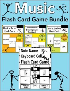 Kids and teens can learn music note names, terms, symbols, intervals, and key signatures in a fun way with this flash card game bundle.