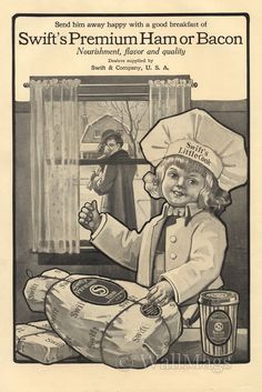 Swift's Premium Ham and Bacon Ad From 1912. Scanned from an original 1912 The Outlook magazine.
