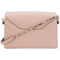 Valextra chain strap shoulder bag (€2.545) ❤ liked on Polyvore featuring bags, handbags, shoulder bags, valextra, chain strap handbag, pale pink purse, shoulder bag handbag and shoulder bag purse
