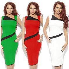 2014 ladies patchwork sleeveless mid-calf slim pencil dress tall women casual party evening petite cheap dresses green white red $27.77