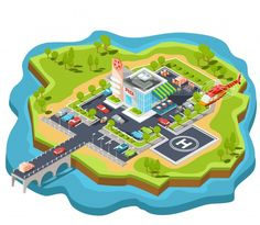 Vector isometric illustration of a modern Italian fast food restaurant with parking and helipad. Free Vector