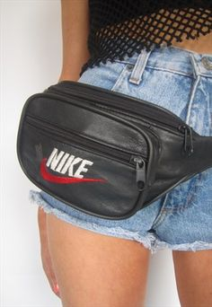 Vintage 1990s Black Leather Nike Bumbag Fanny Pack Festival