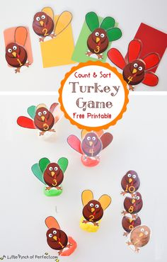A Little Pinch of Perfect: Turkey Feather Counting & Sorting Game & Printable-perfect!