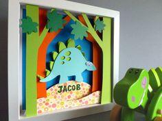Personalised Baby Kids Children's picture - Dinosaur 3D Framed Handmade Paper Artwork on Etsy, $47.81