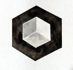 Hexagon 3D Cube Geometric Art Geometric Painting by prettyinc