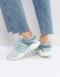 adidas Originals Green EQT Support Sneakers by adidas. Sneakers by Adidas, Breathable mesh upper, Smooth overlays, Lace-up fastening, Sock-like tongue and cuff, Padded for ...