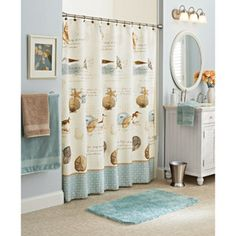 Better Homes and Gardens Costal Collage Fabric Shower Curtain - I want a beach theme for my bathroom