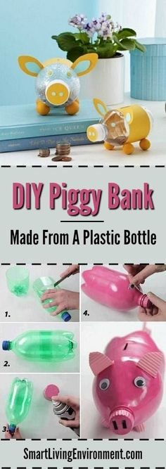 Piggy Bank Made From A Plastic Bottle Learn how to recycle and save money! Here we show you how to make your own piggy bank from an old plastic bottle!LEARN LEARN may refer to: Reuse Plastic Bottles, Plastic Bottle Crafts, Piggy Bank Craft, Recycling Projects For Kids, Diy For Kids, Crafts For Kids, Pet Bottle, Design Blog, Recycled Crafts