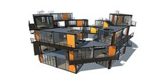 If this was shipping containers - it would be a pretty cool sustainable housing concept for multipurpose housing / temporary / etc. prefab Shipping Container Buildings, Shipping Container Home Designs, Container House Design, Shipping Containers, Container Cabin, Cargo Container, Container Store, Container Office, Container Conversions