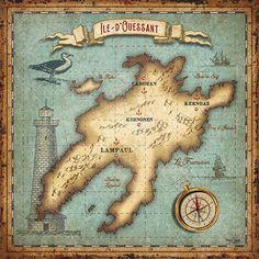 vintage french island map Bruno pozzo © 2018
