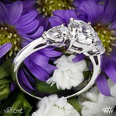 Vatche designs - Uniquely beautiful, the Vatche Round and Pear 3 Stone Engagement Ring mixes classic styling with a twist.