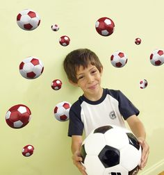 Red & White Soccer Wall Decals
