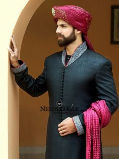 Amazing cut collar marriage sherwani design for groom in black jamawar fabric with front loops http://www.needlehole.com/amazing-cut-collar-marriage-sherwani-design-for-groom-in-black-jamawar-fabric-with-front-loops-button-detail.html #mondaymotivation