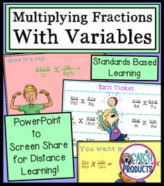 Teach with PowerPoint for solving equations with variables on both sides is great for distance learning. Multiply fractions with variables for kids in 5th or 6th grade on Teachers Pay Teachers. Easy to use, no prep math lesson for learning fraction skills. May use for school or home school. #teachersfollowteachers #teacherspayteachers (level 5, 6) #iteachtoo #education Texas Teachers #iteachmath Great for building math concepts and skills! #Teachersofthegram #iteach456