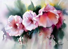 'Fleurs' by Jean Claude Papeix Watercolor Artists, Watercolor Techniques, Watercolor Landscape, Watercolor Print, Watercolour Painting, Painting & Drawing, Watercolours, Art Floral, Abstract Flowers