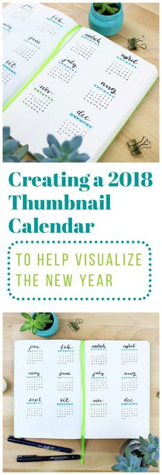 There are a million fun things you can add to your 2018 bullet journal, and they can get pretty complex. That's why I like to take a step back and do something as simple as this 2018 thumbnail calendar to help me wrap my head around the new year! via @LittleCoffeeFox