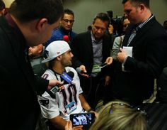 Jimmy Garoppolo Photos Photos - Jimmy Garoppolo #10 of the New England Patriots answers questions during Super Bowl LI media availability at the J.W. Marriott on February 1, 2017 in Houston, Texas. - New England Patriots Media Availability