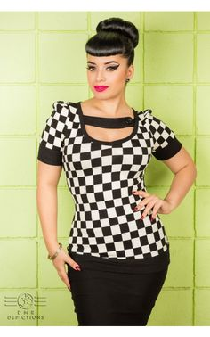 Pinup Girl Clothing - Racing Checkers Top in Black and White   Pinup Girl Clothing