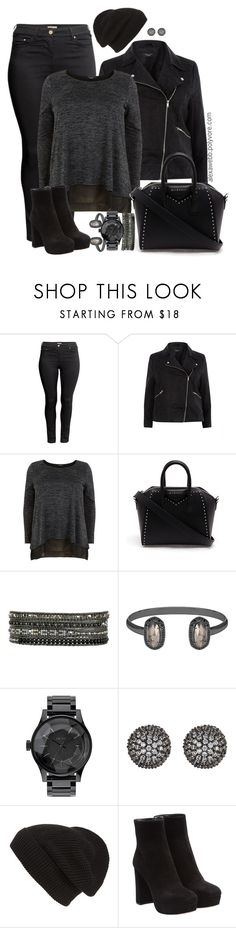 """Plus Size - All Black Everything"" by alexawebb ❤ liked on Polyvore featuring H&M, Givenchy, Chan Luu, Kendra Scott, Nixon, Fallon, Phase 3, Miu Miu, outfit and plussize"