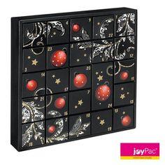 """#Adventskalender PUZZLE BOX """"Black Style"""" von #joyPac® ● #Puzzle-Adventskalender sind im attraktiven Design ● Sie müssen die 24 Boxen nur noch mit kleinen Geschenken befüllen. ● Werden die Schachteln umgedreht, entsteht ein neues Motiv. ● Zum Aufstellen oder auch zum Aufhängen ● 23 Boxen haben eine Größe von 6x6x6 cm und eine Box mit der Größe 6x6x12,5 cm. ● Aufgestelltes Format: 34 x 6 x 34 cm ● #Wellpappe, #Karton, #Kreativ, #Advent, #Weihnachten"""