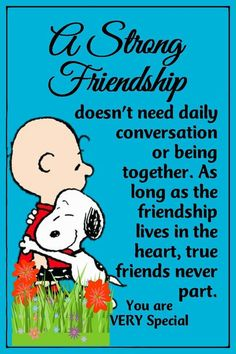 A strong friendship snoopy and Charlie Brown Charlie Brown Quotes, Charlie Brown Und Snoopy, Peanuts Quotes, Snoopy Quotes, Snoopy Love, Snoopy And Woodstock, Baby Snoopy, Peanuts Cartoon, Peanuts Snoopy