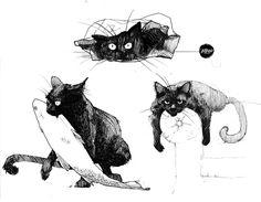 inktober cats by Rheann//