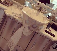 "9,616 Likes, 139 Comments - Home Sweet Hell (@homesweethell) on Instagram: ""Marble skull sink by Stone Love Sculpture """