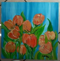 """Tulipani arancio""  Olio su rtela 40x40"