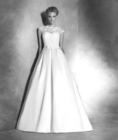 Pronovias 2017 / The wisdom and skill of expert seamstresses transform fine fabrics into haute couture designs. These wedding dresses are pure magic. Pronovias has designed a collection to enchant not only romantic, classic brides, but also modern, Pronovias Wedding Dress, Lace Wedding Dress, 2016 Wedding Dresses, Wedding Dresses Photos, Wedding Dress Styles, Wedding Gowns, One Shoulder Wedding Dress, Dress Lace, Wedding Robe