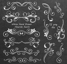 White Divider Elements Digital Clipart PNG Hand Drawn