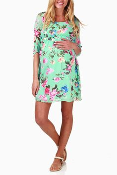 Mint-Green-Floral-Chiffon-Maternity-Dress - Pink Blush Maternity Size Small