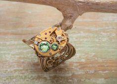 Finger Ring Floral Wrap Adjustable by BackAlleyDesignsINK on Etsy