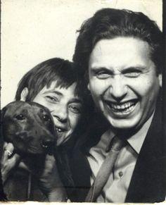 Photobooth couple and their dog, dachshund.