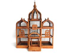 Bird Cage, Antique Wooden Bird Cage, Antique French Home Decor, Antique Bird Cage.