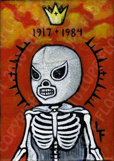 EL SANTO Lucha Libre day of the dead sugar skull Art Print 5x7 art print
