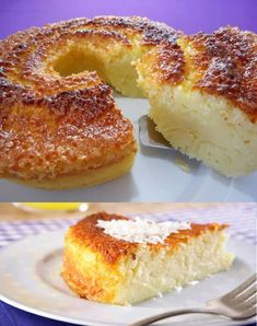 Ingredientes: - 04 ovos - 200 ml leite de coco - 200 ml leite (use a mesma medida) - 2.1/2 xícaras (chá) açúcar - 02 colheres (sopa) margarina - 01 xícara (chá) farinha de trigo - 50 gramas parmesão ralado - 50 gramas coco ralado - 01 colher... Food Truck, Food Hacks, Doughnut, Mousse, Food And Drink, Banana, Yummy Food, Sweets, Cooking