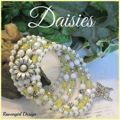 DAISIES Czech Glass Memory Wire Bracelet, Czech Crystals Bacelet, 5 Stacking Bracelets, White, Yellow, Silver, Vintage Style, Ravengirl by RavengirlDesign on Etsy https://www.etsy.com/listing/524387278/daisies-czech-glass-memory-wire-bracelet