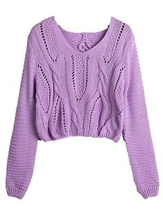 PrettyGuide Women Eyelet Cable Knit Lace Up Crop Long Sleeve Sweater Crop Tops (Purple) PrettyGuide http://www.amazon.com/dp/B00KL46YMI/ref=cm_sw_r_pi_dp_UNIaub1X5SJR8